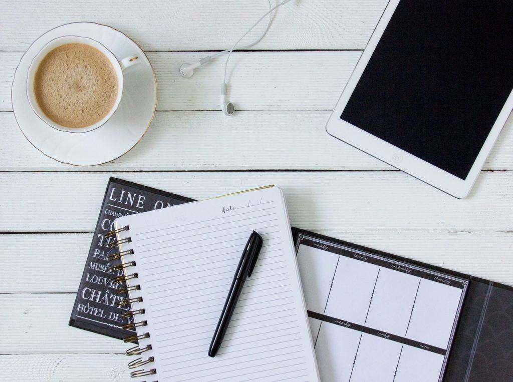 coffee, tablet, headphones